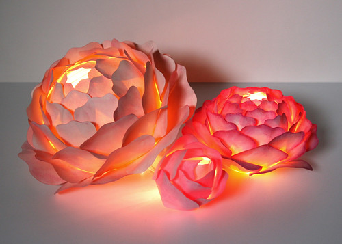 lighted paper rose centerpiece