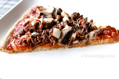 Ground Venison Pizza Slice (side view)