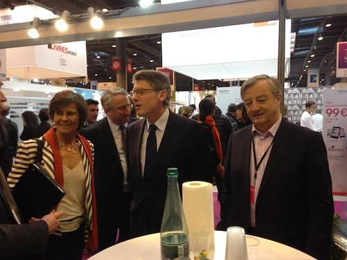Sylvie Marcé (Belin), Vincent Peillon et Vincent Montagne (Média Participations, SNE)
