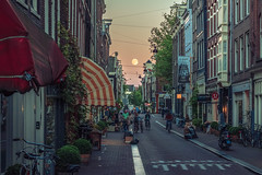 Full moon from Prinsenstraat, Amsterdam