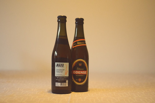 Odense SommerJazz 2012 poster on Albani beer bottles