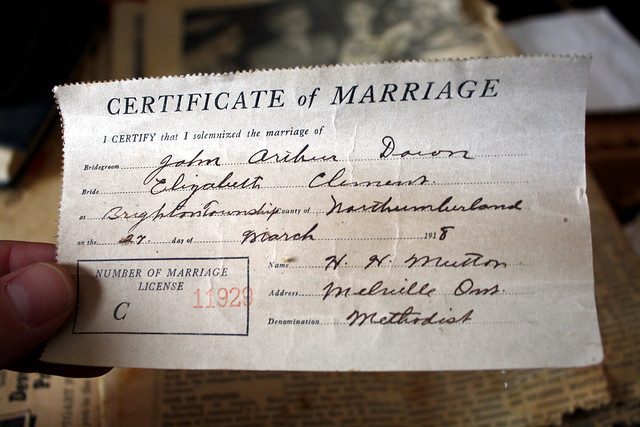 Certificate of Marriage - March 27, 1918