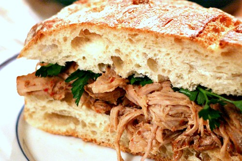 Crockpot Carolina Vinegar BBQ Pork Sandwich by Savour Fare