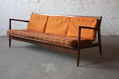 Whoa! Elusive Ib Kofod Larsen Sculpted MCM Sofa for Selig (Denmark, 1950's)