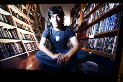 Photos of Aaron Swartz at memorial at Internet Archive in San Francisco