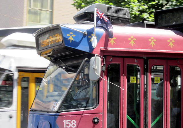 Australian flag on the Royal Tram