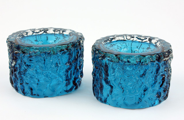 Whitefriar's Kingfisher Blue Candle Holders
