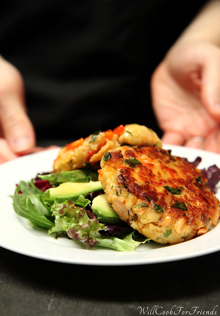 Salmon Cakes with Honey Mustard Vinaigrette