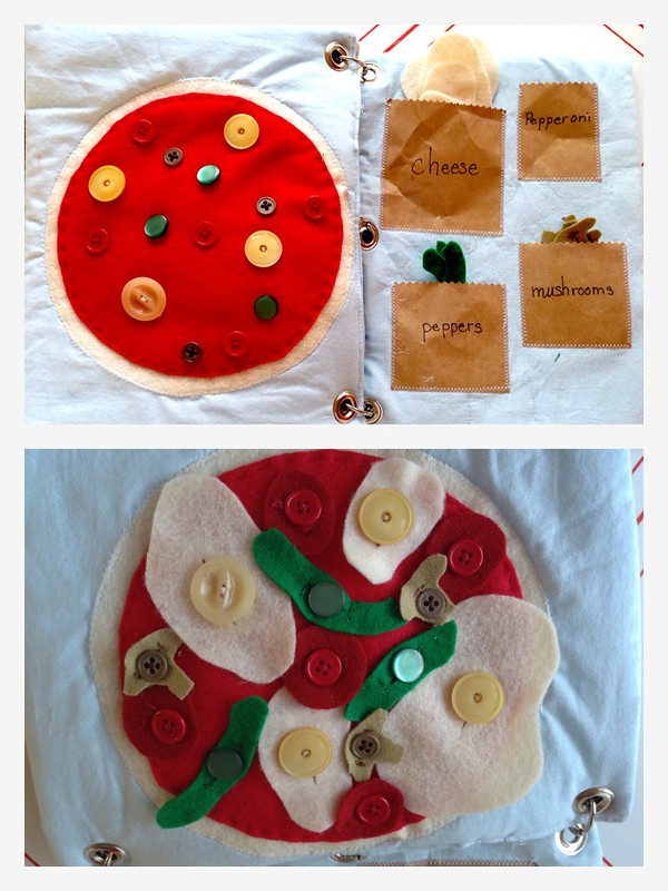 pizza quiet book fine motor buttons