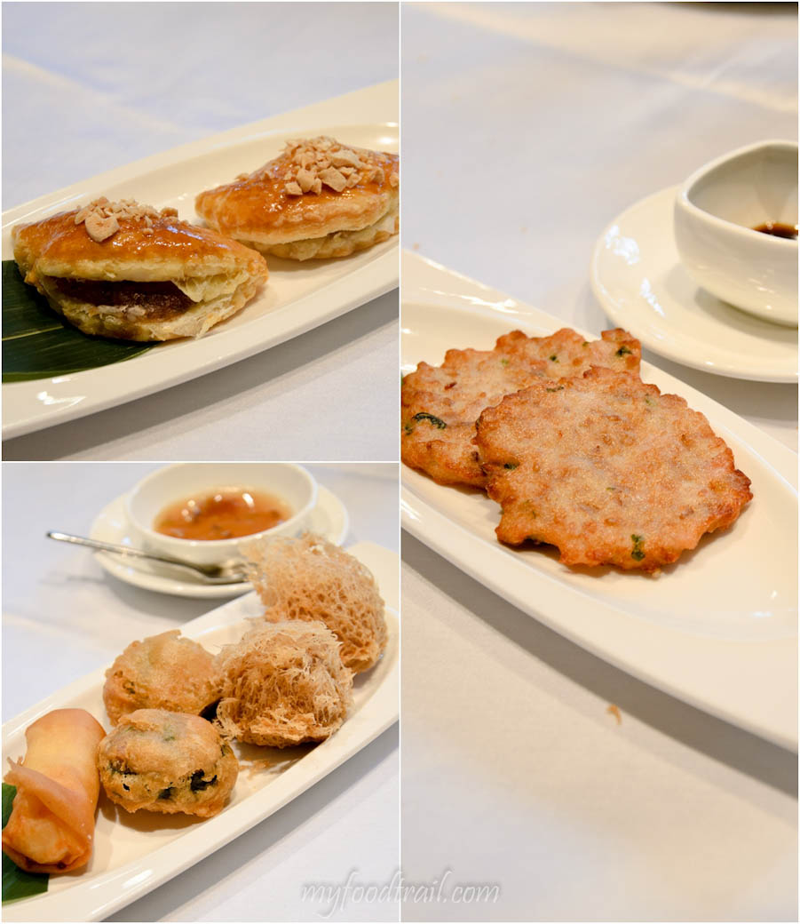 Cuisine Cuisine, The Mira, Hong Kong - BBQ pork puff, lotus root cake, spring roll, fried dace balls, wu kok