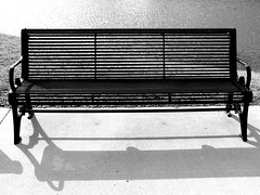 outdoor bench, bench, outdoor furniture, furniture, black-and-white,
