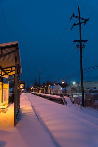 morning winter snow newyork storm sunrise town twilight village nemo platform longisland trainstation february blizzard lirr locustvalley longislandrailroad 2013