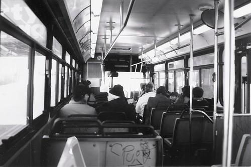 Riding onboard a Chicago Transit Authority  1985  M.A.N   40 foot  transit bus.  Chicago Illinois.  Early January 1988. by Eddie from Chicago