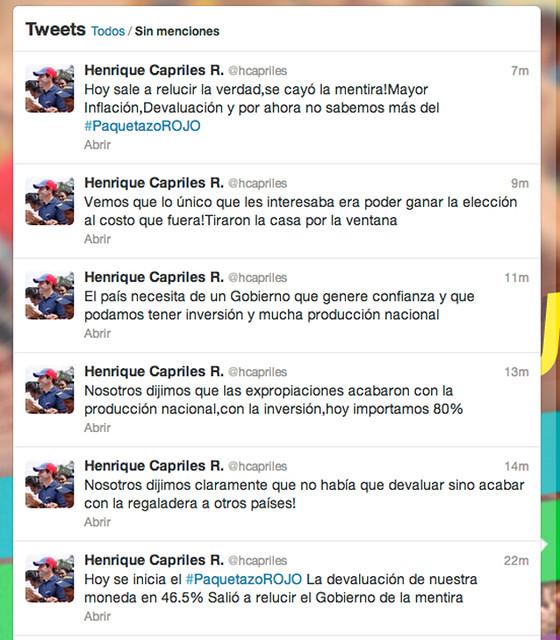 capriles twitter Paquetazo rojo