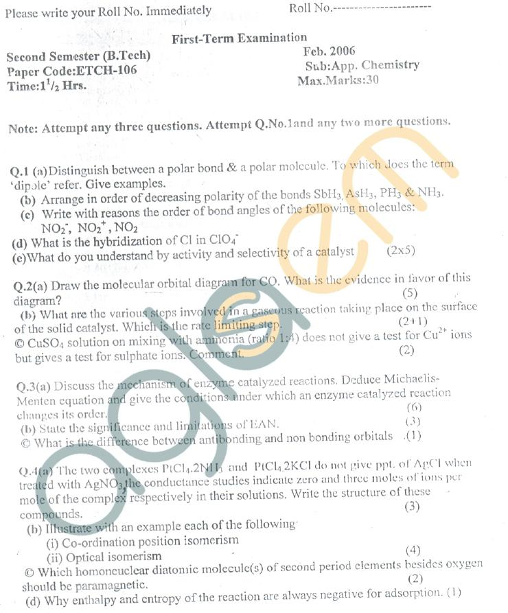 GGSIPU: Question Papers First Semester - First Term 2006 - ETCH-106