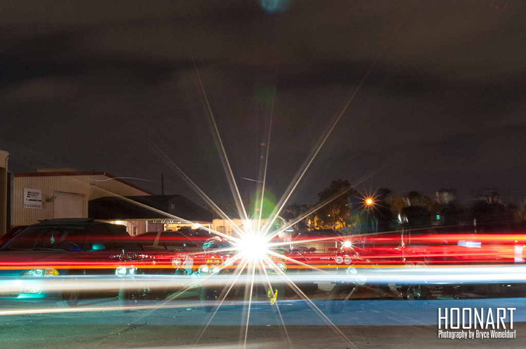 red, white, and blue light trails