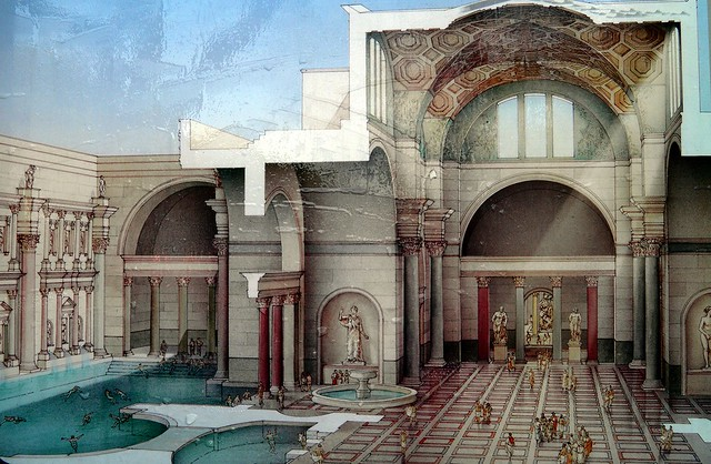 Reconstruction drawing of the Baths of Caracalla, Caelian Hill, Rome