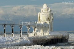 """Frozen Light II ""  St. Joseph Lighthouse - St. Joseph, Michigan by Michigan Nut"