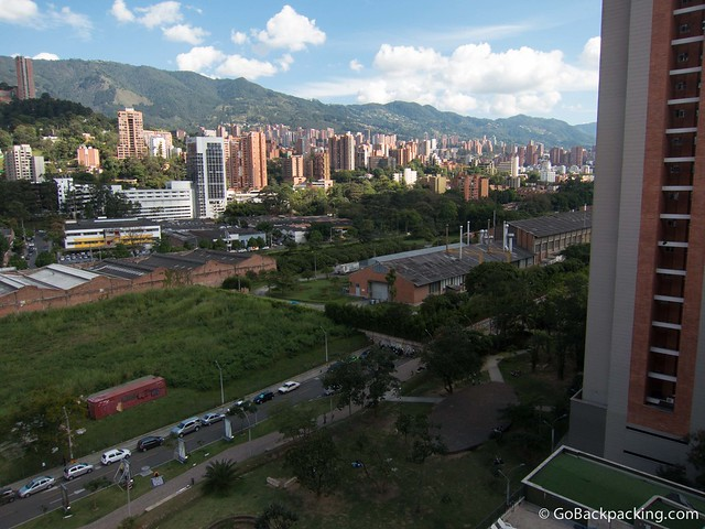 A few southeast toward the rest of Poblado. The park can be seen at the bottom, in the foreground