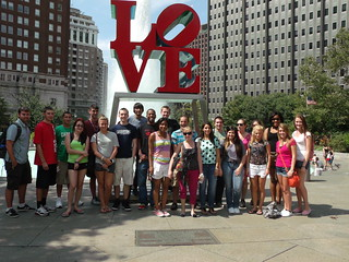 Cabrini students at the LOVE statue in Philly for a Philadelphia Tour Pre-Orienation