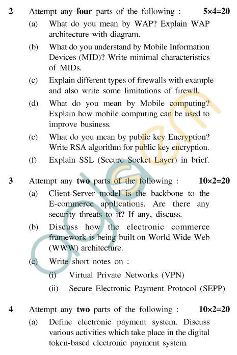 UPTU MCA Question Papers - MCA-245 - Fundamental of E-Commerce