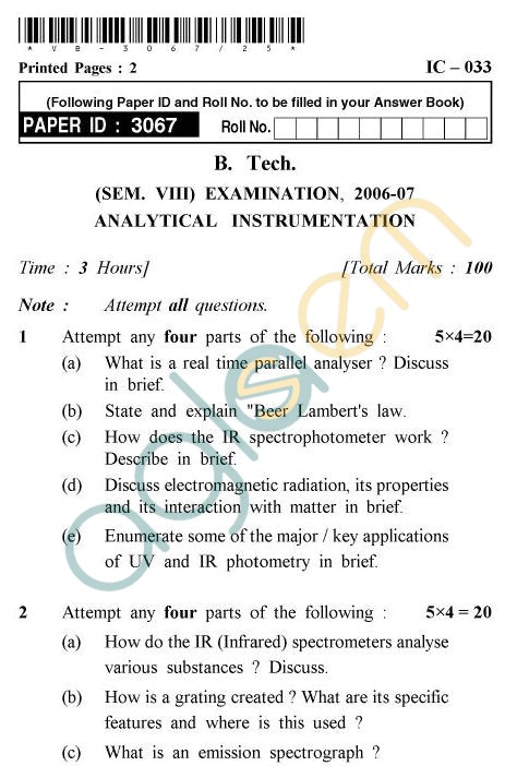 UPTU B.Tech Question Papers - IC-033 - Analytical Instrumentation