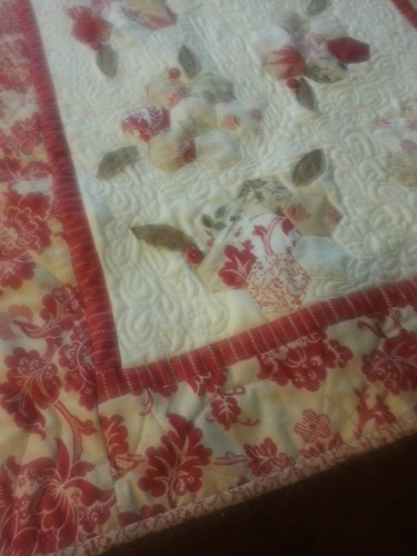 Christmas hexagon table runner up close