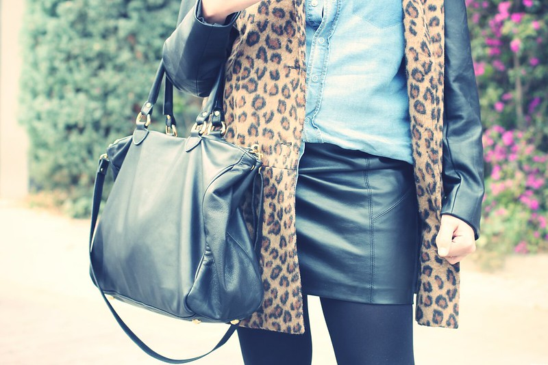 Look leather skirt + leopard coat