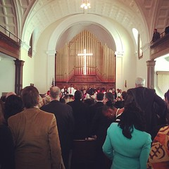 Worshipping at the historic Brown Chapel A.M.E. Church in Selma.