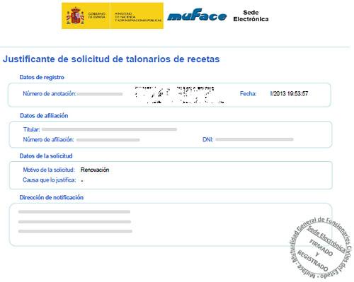 Justificante pdf de la solicitud