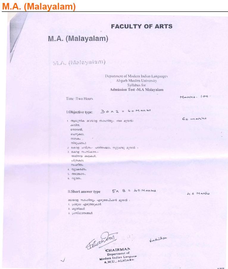 AMU Syllabus - Arts - M. A. Malayalam