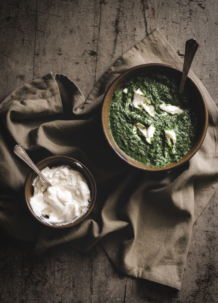 whipped feta + swiss chard puree