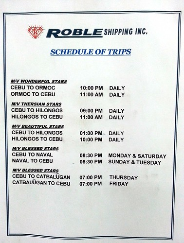 Roble Shipping Inc. Schedule of Trips (taken March 21, 2013)