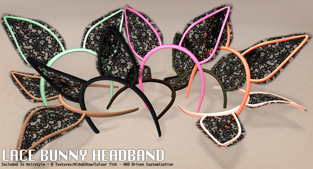 Lace Bunny Ears Headband For Rigged Mesh Hairstyle Harriet