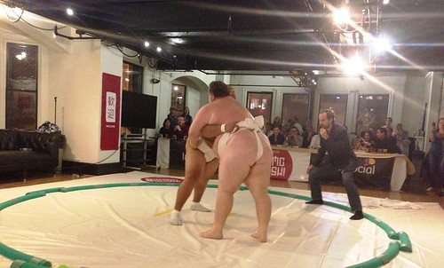 Sumo Wrestlers Byamba and Kelly fighting