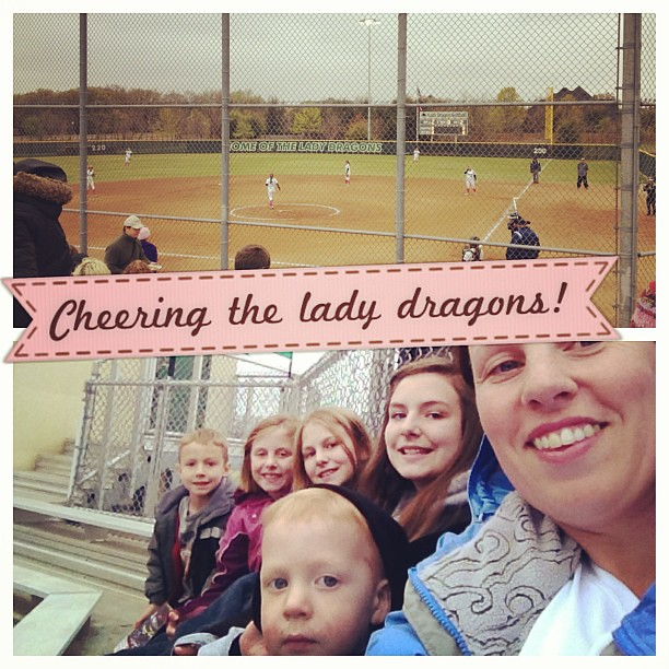 Me and the kids hanging together at the local high school varsity girls softball game!