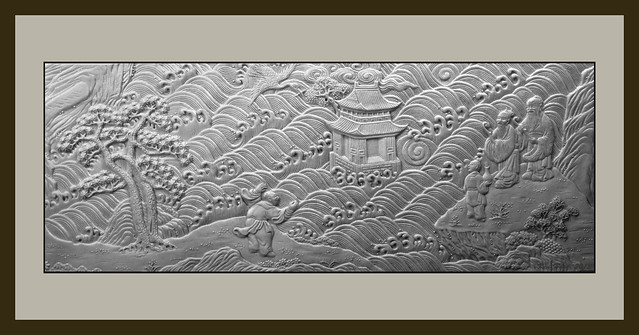 鶴壽圖 乾隆 雕瓷 carving on porcelain