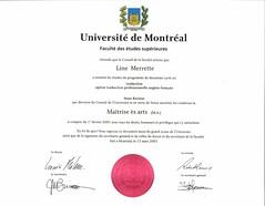 diplôme M.A. traduction Line couleur