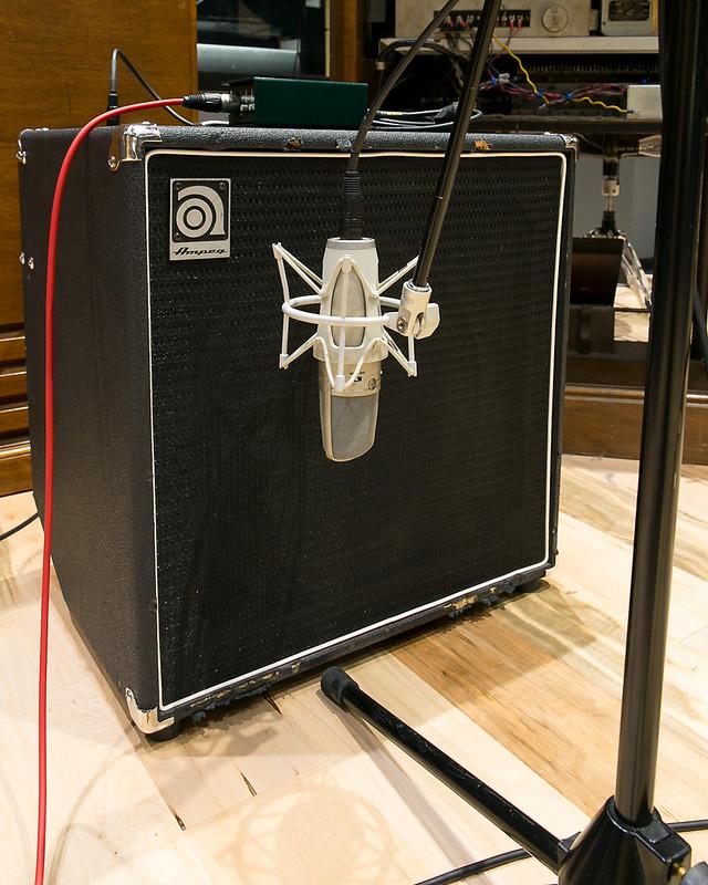 Shure KSM44 on an Ampeg BA-115 Bass Amp