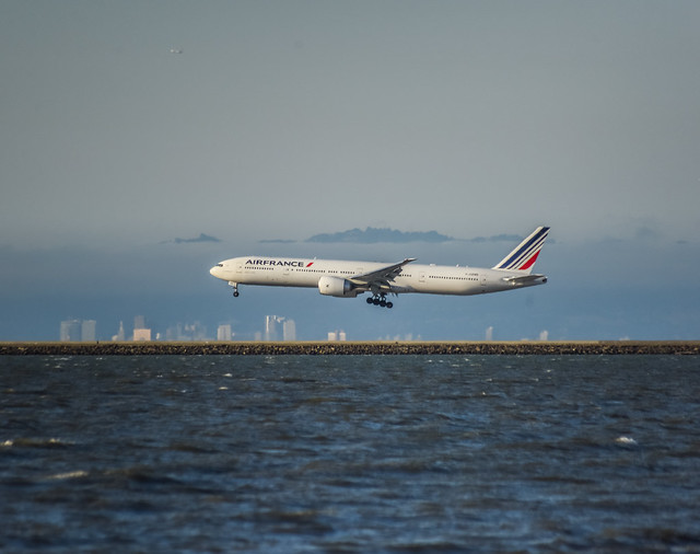 arriving flight 080, one of two daily air france nonstops from paris