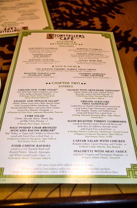 Storytellers Cafe menu