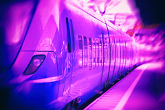 Purple train in motion