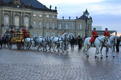 HM queen Margrethe II in the golden chariot