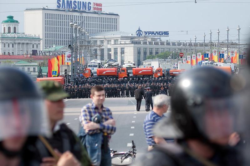 Оцепление полиции на Болотной площади и Большом каменном мосту, Марш миллионов 6 мая 2012