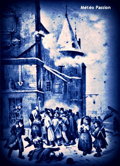 illustration de la matinée glaciale du 20 janvier 1838 à Paris, au thermomètre de la Conciergerie météopassion