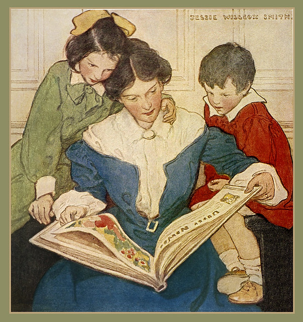 Jessie Willcox Smith 'The New Book' 1915 from 'When Christmas Comes Around'