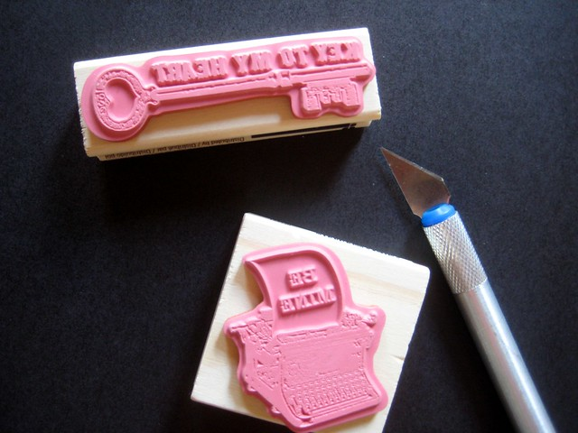 January 2Typewriter and key rubber stamps
