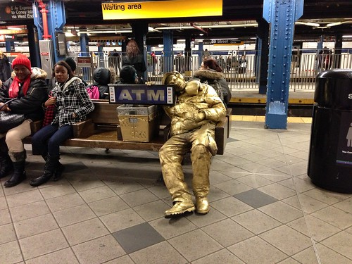 Gold Man, in the subway