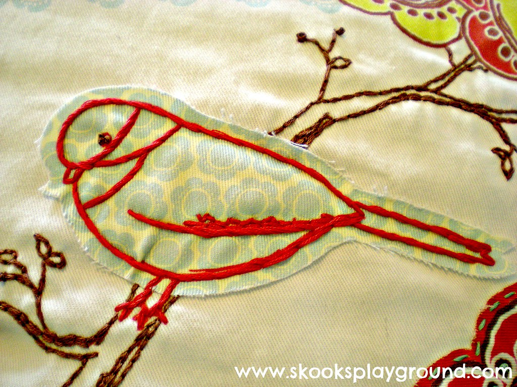 Bird Embroidery Detail