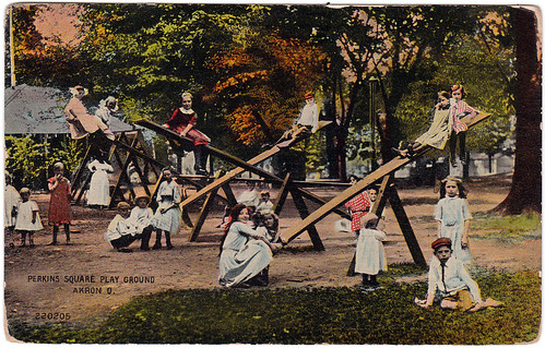 ohio playground children play postcard parks ground 1914 akron akronohio madeintheusa perkinssquare valentinesouvenirco dividedbackera perkinssquareplayground